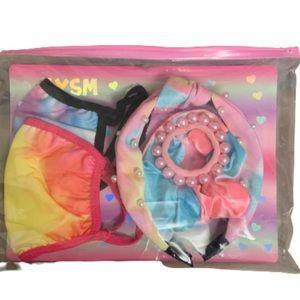 Girls tie dye face mask & hair accessories